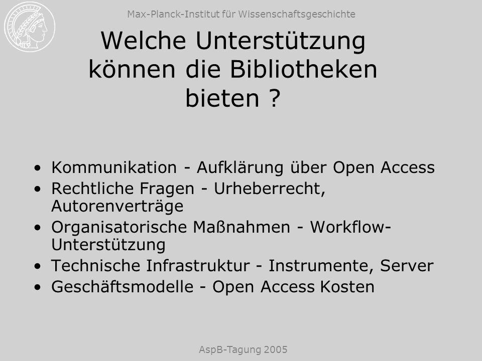Max-Planck-Institut für Wissenschaftsgeschichte AspB-Tagung 2005 Welche Unterstützung können die Bibliotheken bieten ? Kommunikation - Aufklärung über