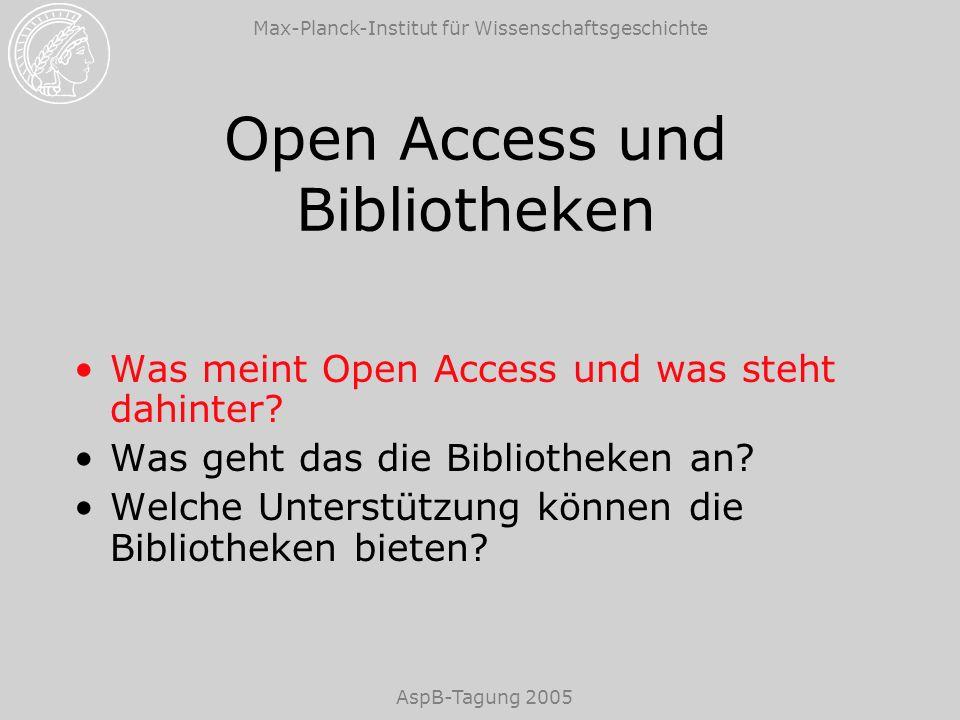 Max-Planck-Institut für Wissenschaftsgeschichte AspB-Tagung 2005 Beispiele für Initiativen für Open Access Budapest Open Access Initiative (BOAI) Berliner Erklärung über offenen Zugang zu wissenschaftlichem Wissen (Berlin Declaration)