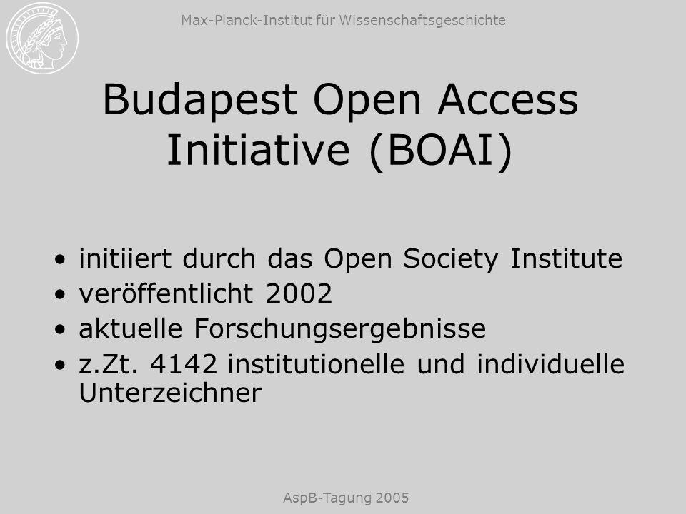 Max-Planck-Institut für Wissenschaftsgeschichte AspB-Tagung 2005 Budapest Open Access Initiative (BOAI) initiiert durch das Open Society Institute veröffentlicht 2002 aktuelle Forschungsergebnisse z.Zt.