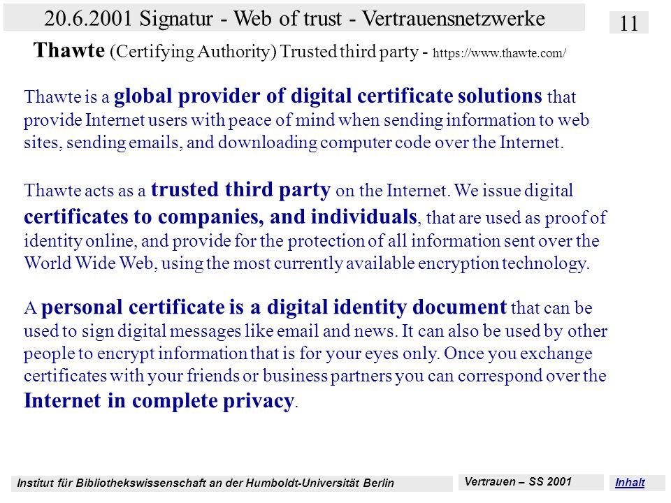 Institut für Bibliothekswissenschaft an der Humboldt-Universität Berlin 11 20.6.2001 Signatur - Web of trust - Vertrauensnetzwerke Vertrauen – SS 2001