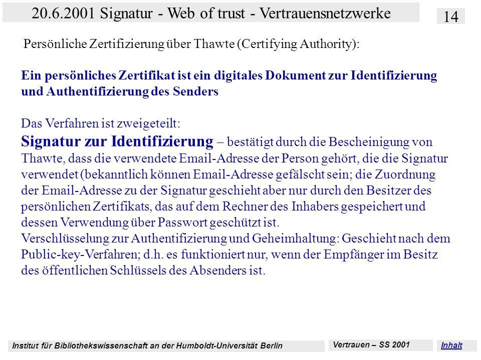 Institut für Bibliothekswissenschaft an der Humboldt-Universität Berlin 14 20.6.2001 Signatur - Web of trust - Vertrauensnetzwerke Vertrauen – SS 2001