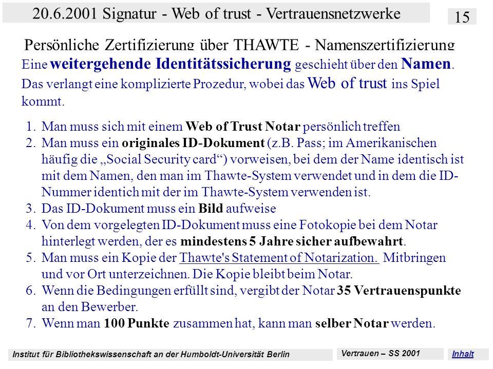 Institut für Bibliothekswissenschaft an der Humboldt-Universität Berlin 15 20.6.2001 Signatur - Web of trust - Vertrauensnetzwerke Vertrauen – SS 2001