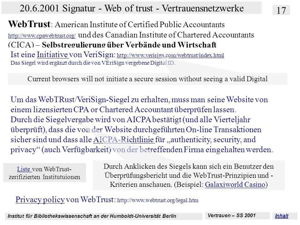 Institut für Bibliothekswissenschaft an der Humboldt-Universität Berlin 17 20.6.2001 Signatur - Web of trust - Vertrauensnetzwerke Vertrauen – SS 2001
