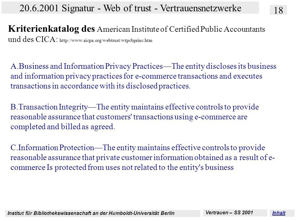Institut für Bibliothekswissenschaft an der Humboldt-Universität Berlin 18 20.6.2001 Signatur - Web of trust - Vertrauensnetzwerke Vertrauen – SS 2001