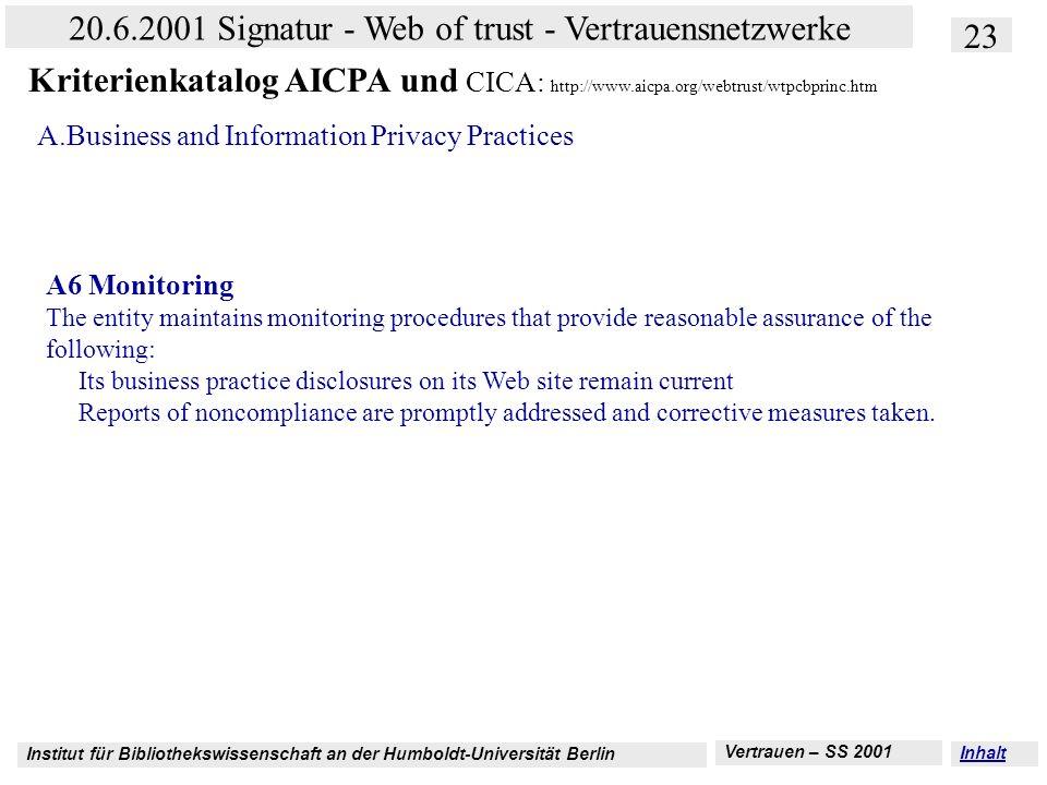 Institut für Bibliothekswissenschaft an der Humboldt-Universität Berlin 23 20.6.2001 Signatur - Web of trust - Vertrauensnetzwerke Vertrauen – SS 2001