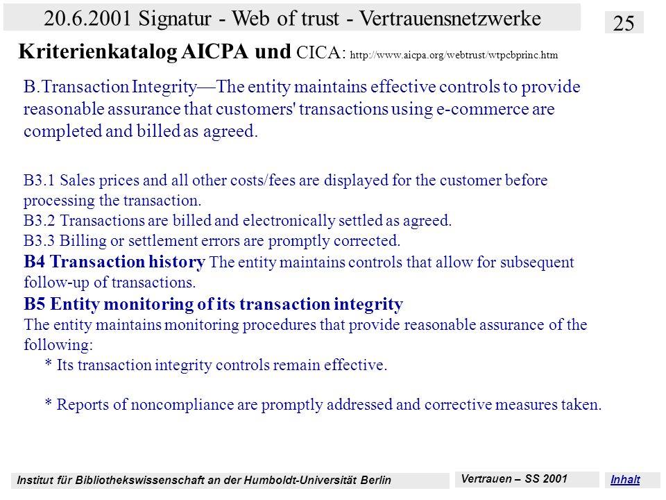 Institut für Bibliothekswissenschaft an der Humboldt-Universität Berlin 25 20.6.2001 Signatur - Web of trust - Vertrauensnetzwerke Vertrauen – SS 2001