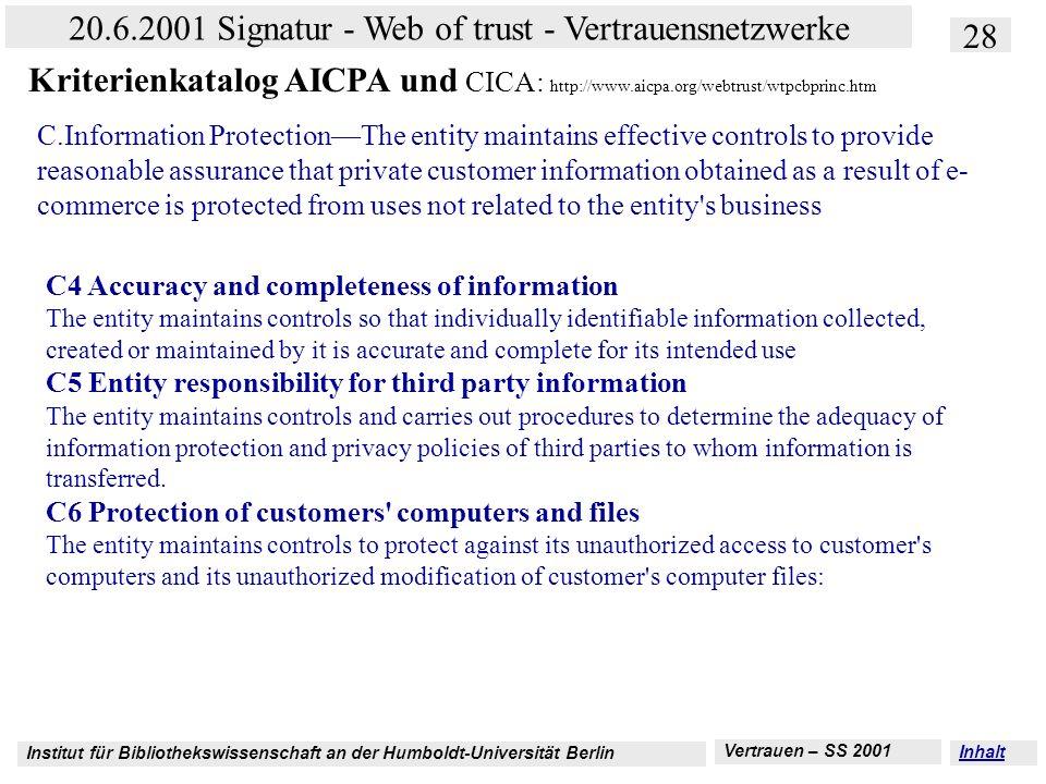 Institut für Bibliothekswissenschaft an der Humboldt-Universität Berlin 28 20.6.2001 Signatur - Web of trust - Vertrauensnetzwerke Vertrauen – SS 2001