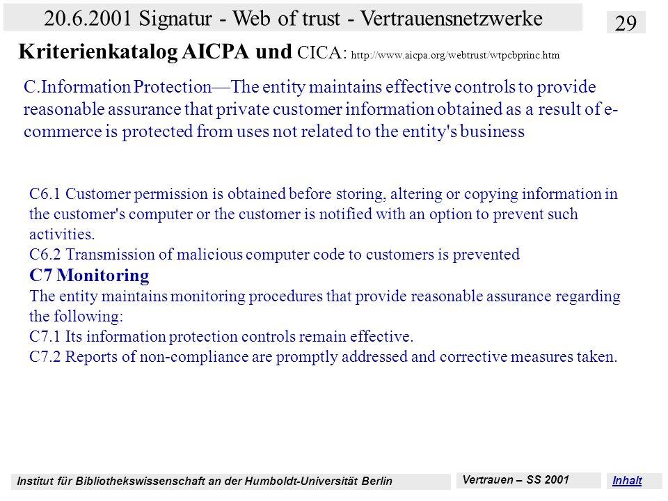 Institut für Bibliothekswissenschaft an der Humboldt-Universität Berlin 29 20.6.2001 Signatur - Web of trust - Vertrauensnetzwerke Vertrauen – SS 2001