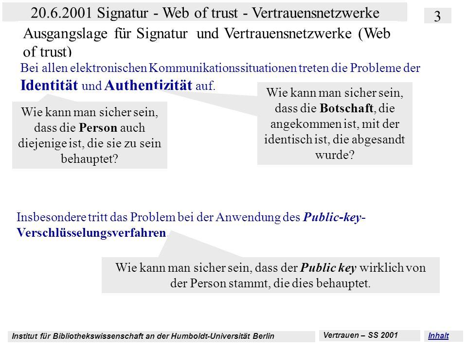 Institut für Bibliothekswissenschaft an der Humboldt-Universität Berlin 3 20.6.2001 Signatur - Web of trust - Vertrauensnetzwerke Vertrauen – SS 2001