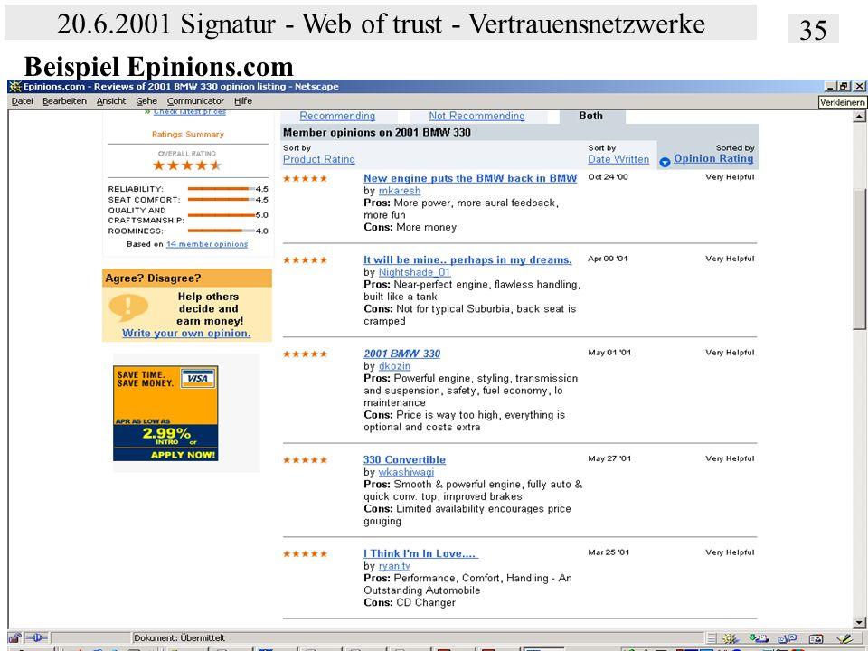 Institut für Bibliothekswissenschaft an der Humboldt-Universität Berlin 35 20.6.2001 Signatur - Web of trust - Vertrauensnetzwerke Vertrauen – SS 2001