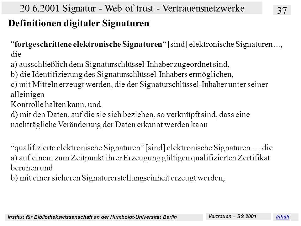 Institut für Bibliothekswissenschaft an der Humboldt-Universität Berlin 37 20.6.2001 Signatur - Web of trust - Vertrauensnetzwerke Vertrauen – SS 2001