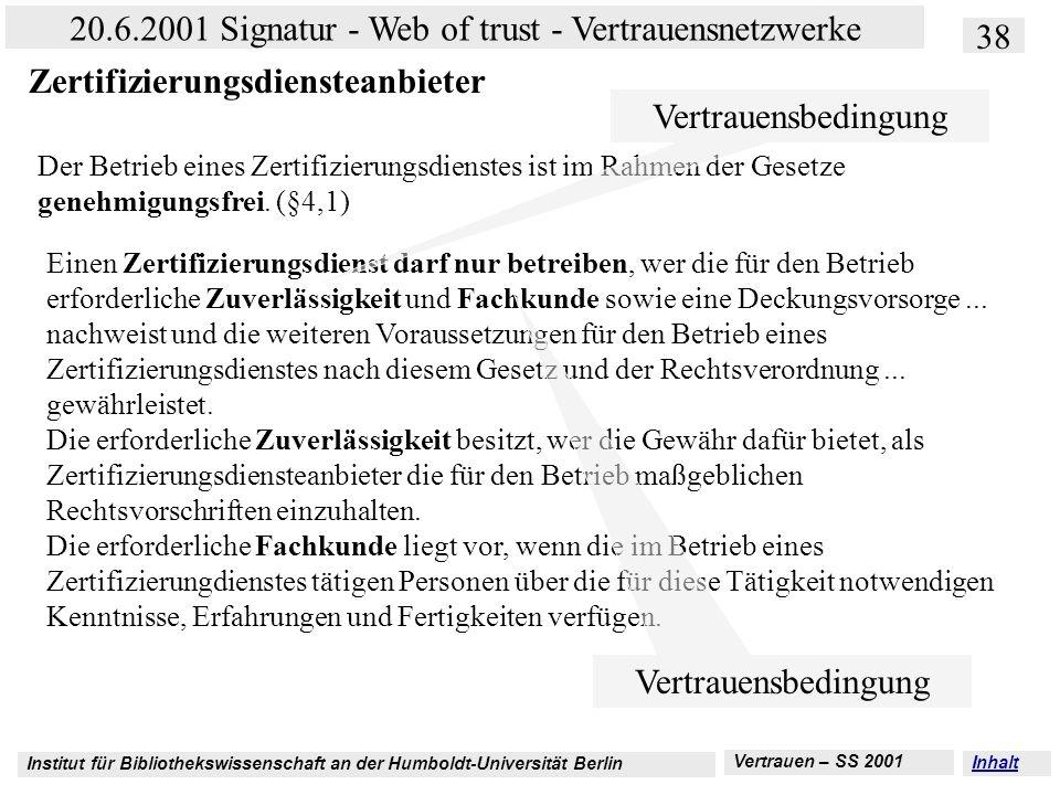 Institut für Bibliothekswissenschaft an der Humboldt-Universität Berlin 38 20.6.2001 Signatur - Web of trust - Vertrauensnetzwerke Vertrauen – SS 2001