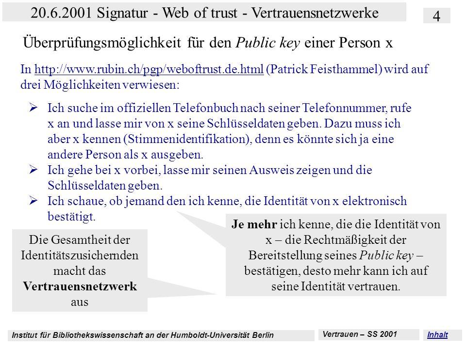 Institut für Bibliothekswissenschaft an der Humboldt-Universität Berlin 4 20.6.2001 Signatur - Web of trust - Vertrauensnetzwerke Vertrauen – SS 2001