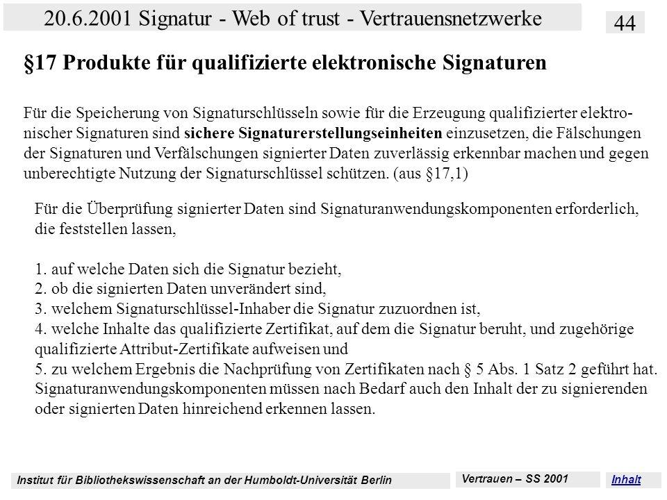 Institut für Bibliothekswissenschaft an der Humboldt-Universität Berlin 44 20.6.2001 Signatur - Web of trust - Vertrauensnetzwerke Vertrauen – SS 2001