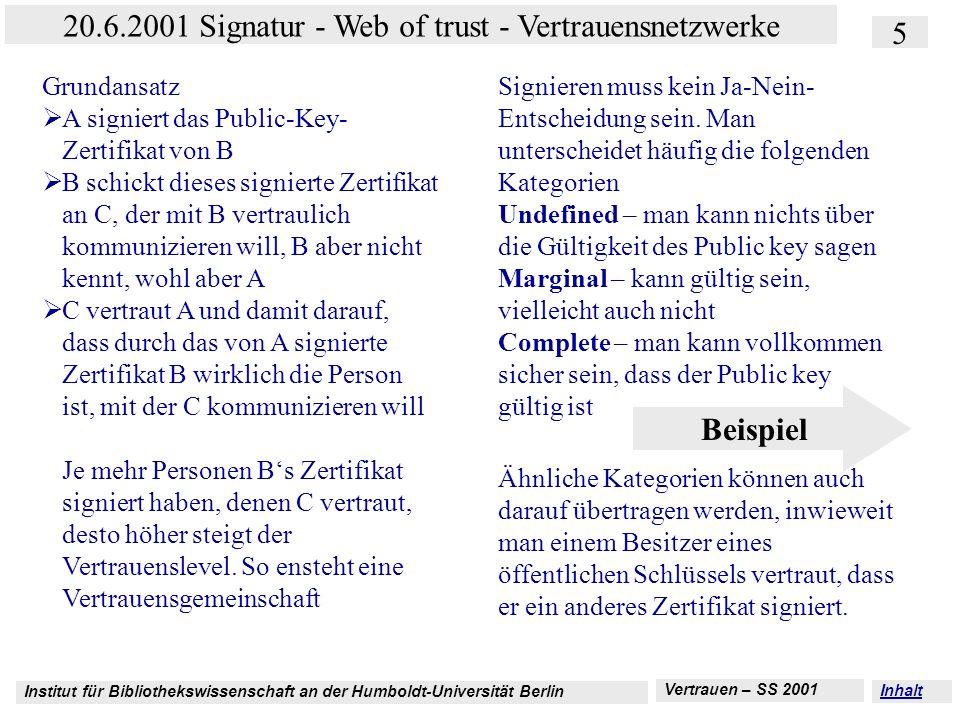 Institut für Bibliothekswissenschaft an der Humboldt-Universität Berlin 5 20.6.2001 Signatur - Web of trust - Vertrauensnetzwerke Vertrauen – SS 2001