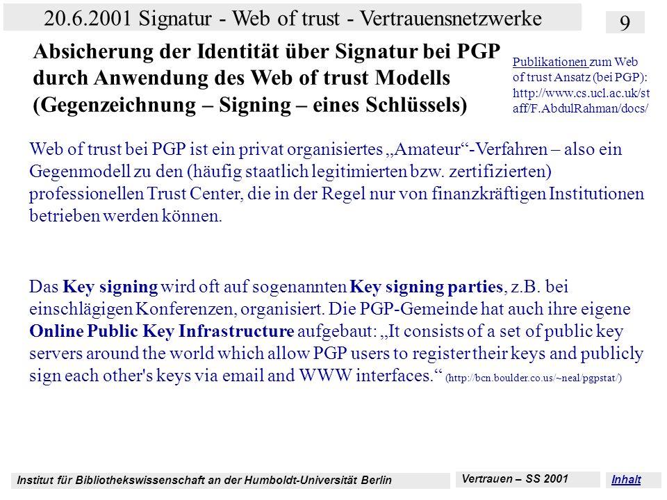 Institut für Bibliothekswissenschaft an der Humboldt-Universität Berlin 9 20.6.2001 Signatur - Web of trust - Vertrauensnetzwerke Vertrauen – SS 2001