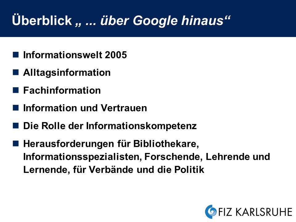 Information und Vertrauen Ziele professioneller Recherchen...