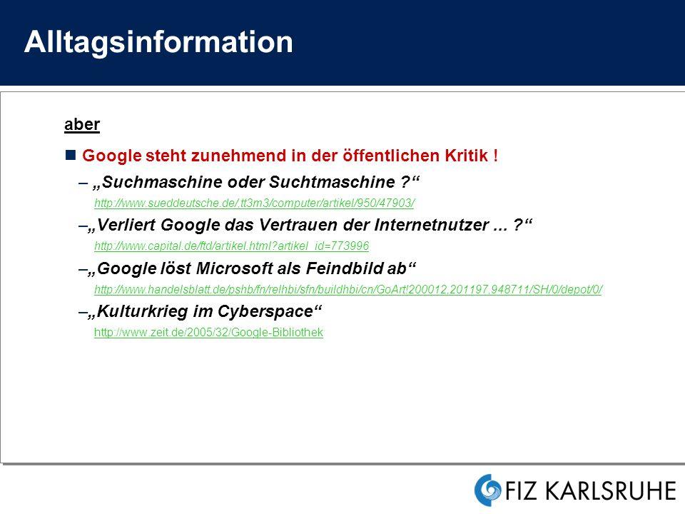 Information und Vertrauen Kriterien professioneller Informationssuche .