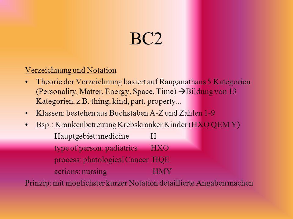 BC2 Verzeichnung und Notation Theorie der Verzeichnung basiert auf Ranganathans 5 Kategorien (Personality, Matter, Energy, Space, Time) Bildung von 13 Kategorien, z.B.