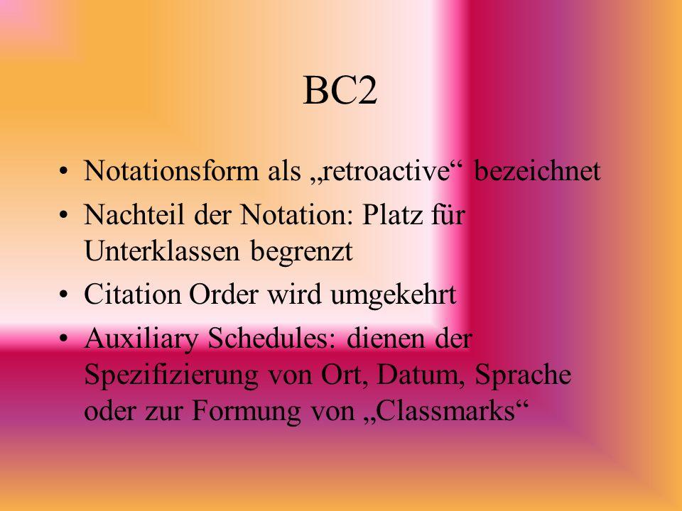 BC2 Notationsform als retroactive bezeichnet Nachteil der Notation: Platz für Unterklassen begrenzt Citation Order wird umgekehrt Auxiliary Schedules: dienen der Spezifizierung von Ort, Datum, Sprache oder zur Formung von Classmarks