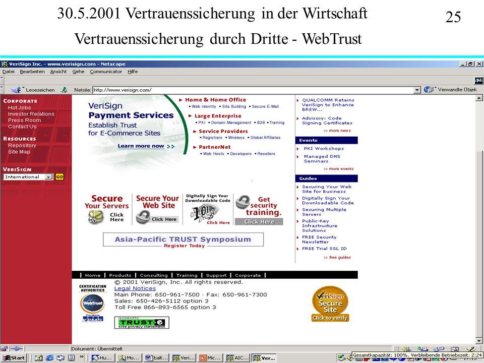 Institut für Bibliothekswissenschaft an der Humboldt-Universität Berlin 25 Vertrauen – SS 2001 30.5.2001 Vertrauenssicherung in der Wirtschaft Vertrauenssicherung durch Dritte - WebTrust