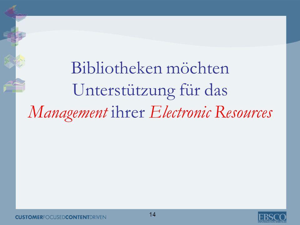 14 Bibliotheken möchten Unterstützung für das Management ihrer Electronic Resources