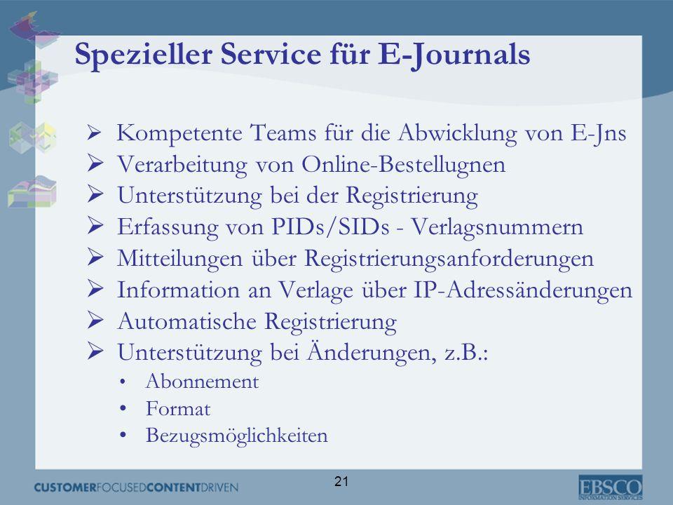 21 Spezieller Service für E-Journals Kompetente Teams für die Abwicklung von E-Jns Verarbeitung von Online-Bestellugnen Unterstützung bei der Registri