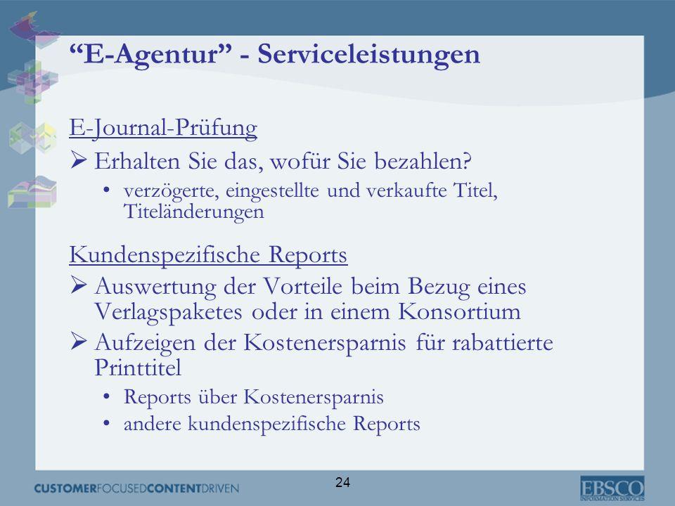 24 E-Agentur - Serviceleistungen E-Journal-Prüfung Erhalten Sie das, wofür Sie bezahlen? verzögerte, eingestellte und verkaufte Titel, Titeländerungen