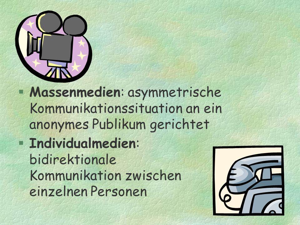 §Massenmedien: asymmetrische Kommunikationssituation an ein anonymes Publikum gerichtet §Individualmedien: bidirektionale Kommunikation zwischen einze