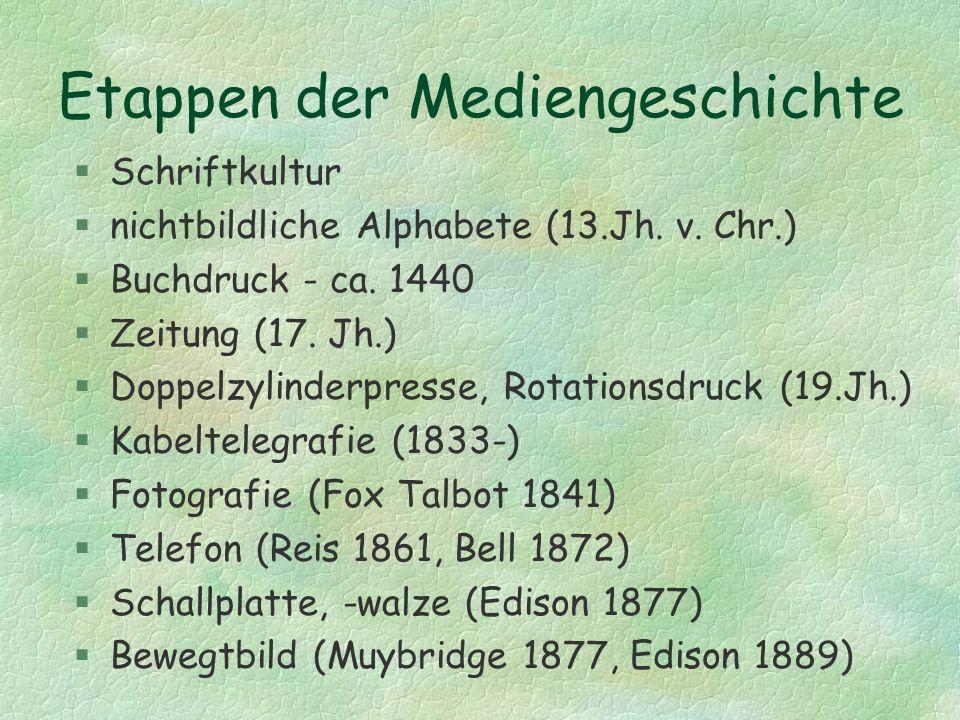 Etappen der Mediengeschichte §Schriftkultur §nichtbildliche Alphabete (13.Jh. v. Chr.) §Buchdruck - ca. 1440 §Zeitung (17. Jh.) §Doppelzylinderpresse,