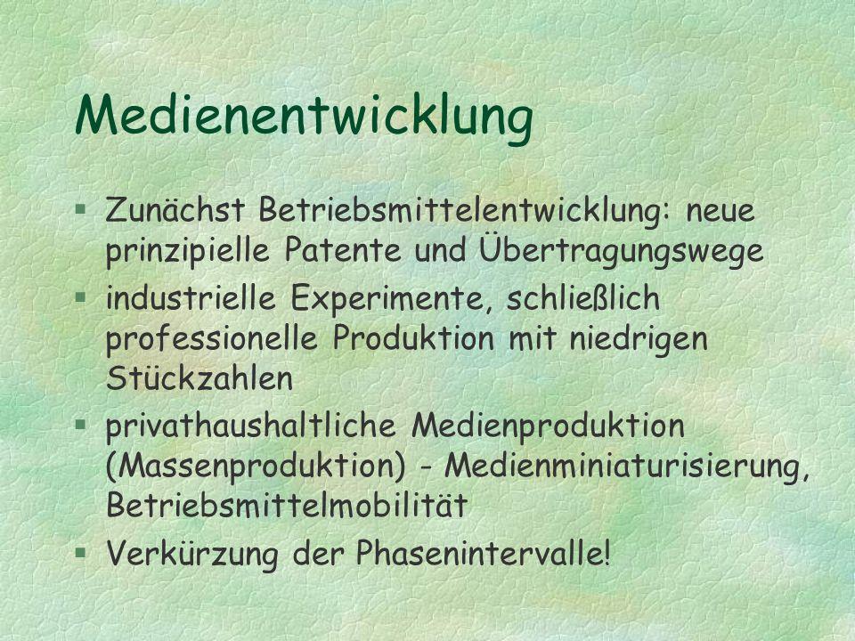 Medienentwicklung §Zunächst Betriebsmittelentwicklung: neue prinzipielle Patente und Übertragungswege §industrielle Experimente, schließlich professio