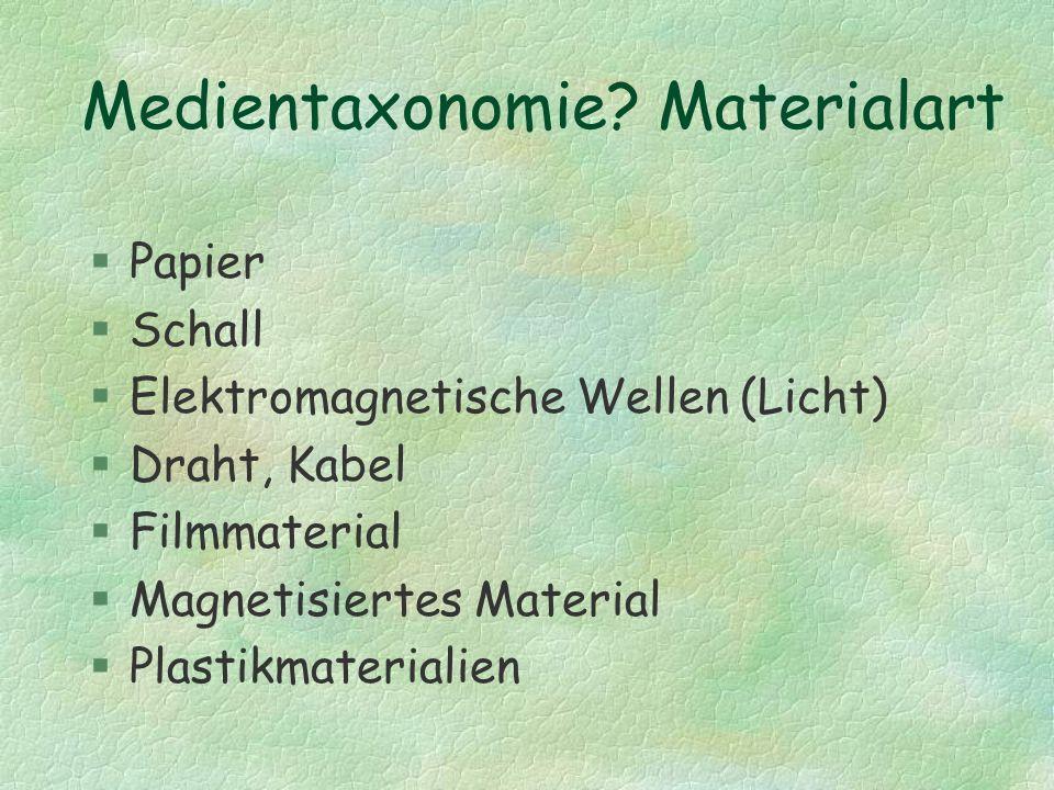 Medientaxonomie? Materialart §Papier §Schall §Elektromagnetische Wellen (Licht) §Draht, Kabel §Filmmaterial §Magnetisiertes Material §Plastikmateriali