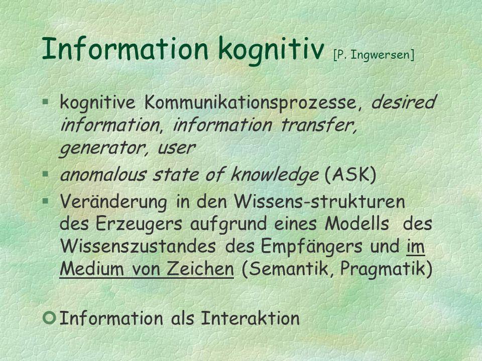 Information kognitiv [P. Ingwersen] §kognitive Kommunikationsprozesse, desired information, information transfer, generator, user §anomalous state of