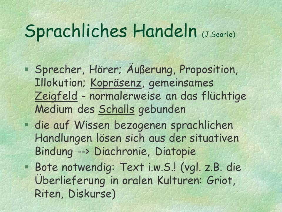Sprachliches Handeln (J.Searle) §Sprecher, Hörer; Äußerung, Proposition, Illokution; Kopräsenz, gemeinsames Zeigfeld - normalerweise an das flüchtige
