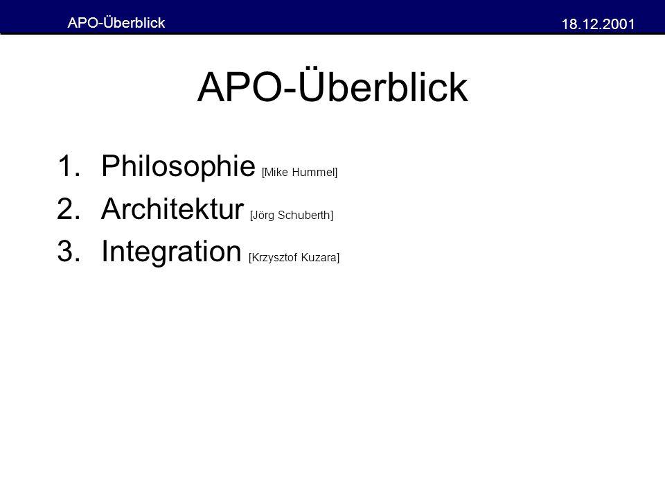 APO-Überblick 18.12.2001 APO-Überblick 1.Philosophie [Mike Hummel] 2.Architektur [Jörg Schuberth] 3.Integration [Krzysztof Kuzara]