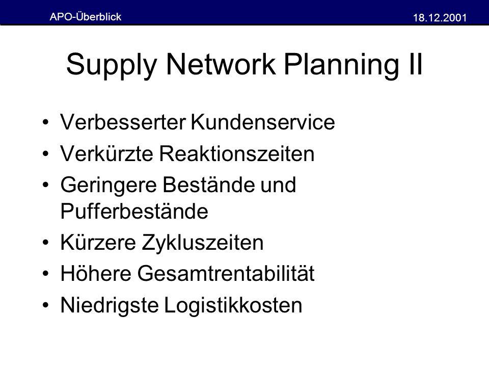 APO-Überblick 18.12.2001 Supply Network Planning II Verbesserter Kundenservice Verkürzte Reaktionszeiten Geringere Bestände und Pufferbestände Kürzere