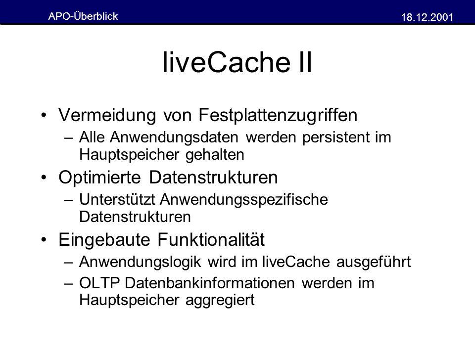APO-Überblick 18.12.2001 liveCache II Vermeidung von Festplattenzugriffen –Alle Anwendungsdaten werden persistent im Hauptspeicher gehalten Optimierte