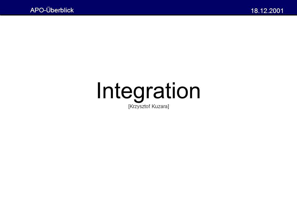 APO-Überblick 18.12.2001 Integration [Krzysztof Kuzara]