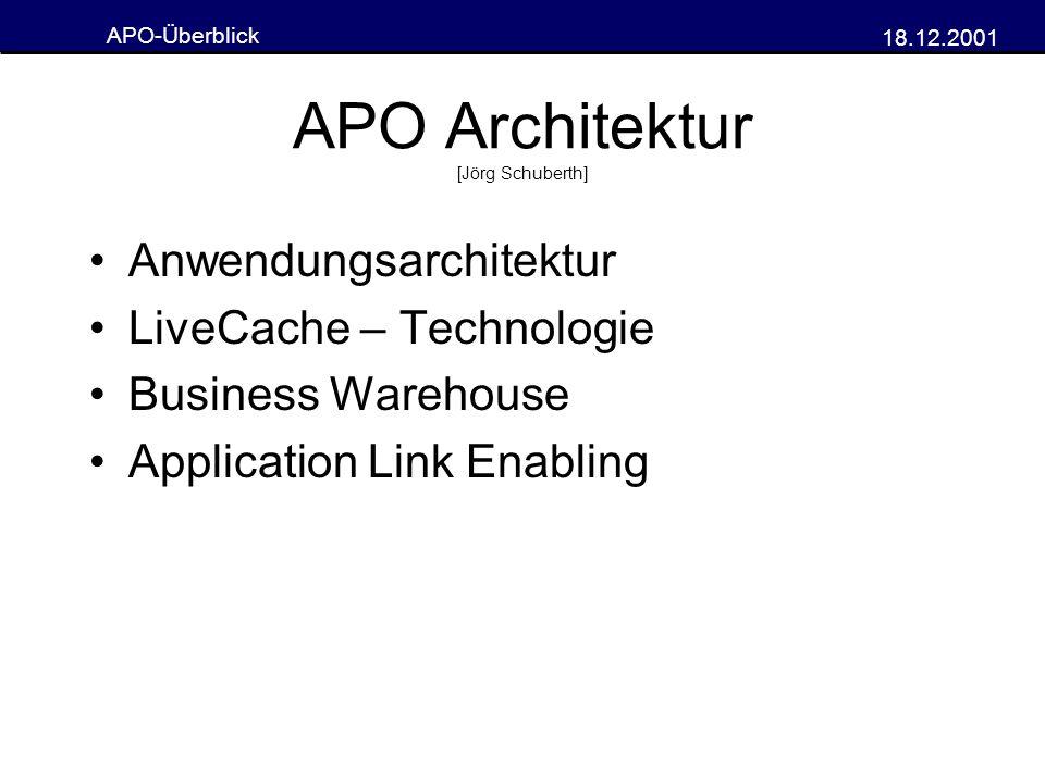 APO-Überblick 18.12.2001 Planung in Echtzeit Möglich durch QRFC und schlanke Datenstrukturen Änderungen in R/3 können sofort berücksichtigt werden simultane Betrachtung aller verwendeten Ressourcen Vorteil gegenüber anderen PPS- Systemen
