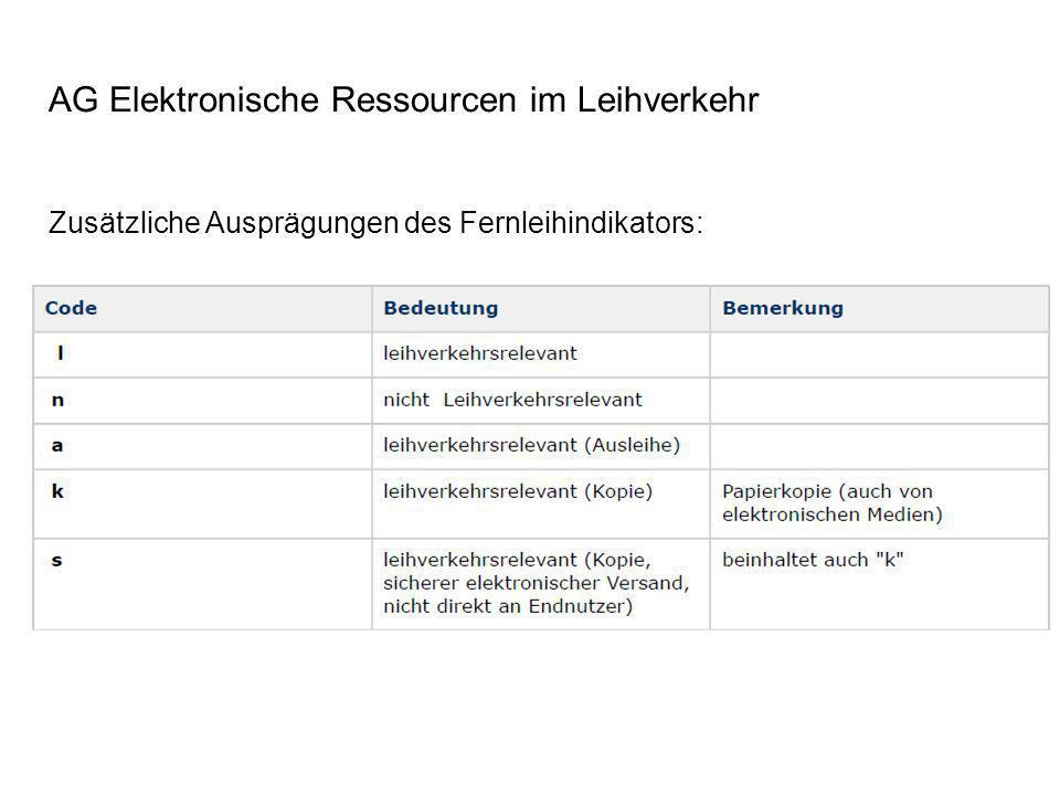 AG Elektronische Ressourcen im Leihverkehr Zusätzliche Ausprägungen des Fernleihindikators: