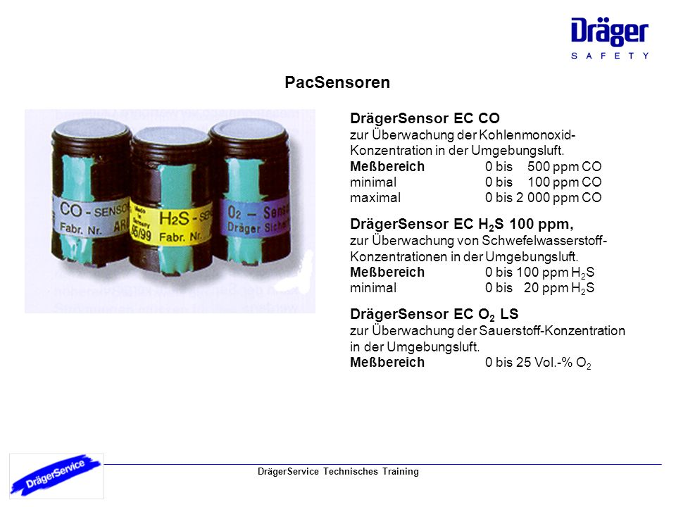 DrägerService Technisches Training Funktionsprinzip des elektro-chemischen Sensors 1 Meßgas 5 Elektrolyt 2 Staubfilter 6 Referenzelektrode 3 Membran 7 Gegenelektrode 4 Meßelektrode Meßprinzip Die DrägerSensoren EC sind elektrochemische Meßwandler zur Messung des Partialdruckes des jeweiligen Gases unter atmosphärischen Bedingungen.