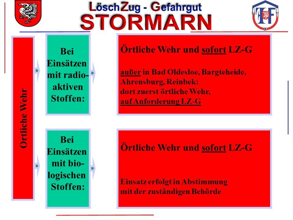 Ortliche Wehr Bei Einsätzen mit radio- aktiven Stoffen: Örtliche Wehr und sofort LZ-G außer in Bad Oldesloe, Bargteheide, Ahrensburg, Reinbek: dort zu