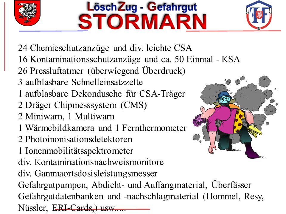 24 Chemieschutzanzüge und div. leichte CSA 16 Kontaminationsschutzanzüge und ca. 50 Einmal - KSA 26 Pressluftatmer (überwíegend Überdruck) 3 aufblasba