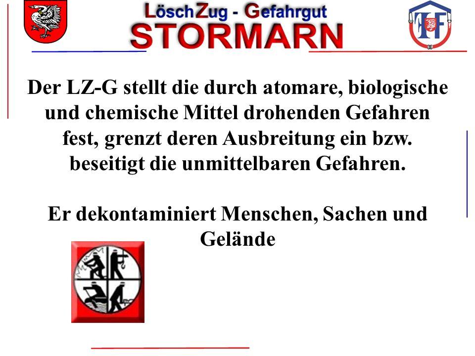 Der LZ-G stellt die durch atomare, biologische und chemische Mittel drohenden Gefahren fest, grenzt deren Ausbreitung ein bzw. beseitigt die unmittelb