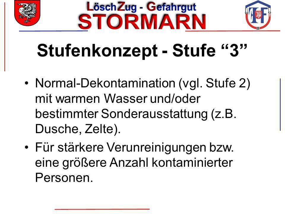 Stufenkonzept - Stufe 3 Normal-Dekontamination (vgl. Stufe 2) mit warmen Wasser und/oder bestimmter Sonderausstattung (z.B. Dusche, Zelte). Für stärke