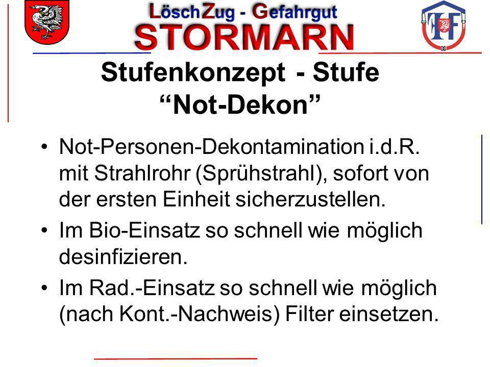 Stufenkonzept - Stufe Not-Dekon Not-Personen-Dekontamination i.d.R. mit Strahlrohr (Sprühstrahl), sofort von der ersten Einheit sicherzustellen. Im Bi