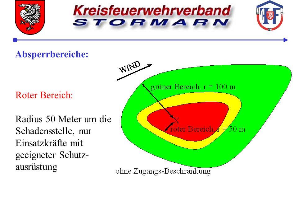 Ansperrbereiche: Grüner Bereich: Radius 100 Meter um die Schadensstelle, Aufstell- und Bewegungsfläche, Zutritt nur für Einsatz- kräfte