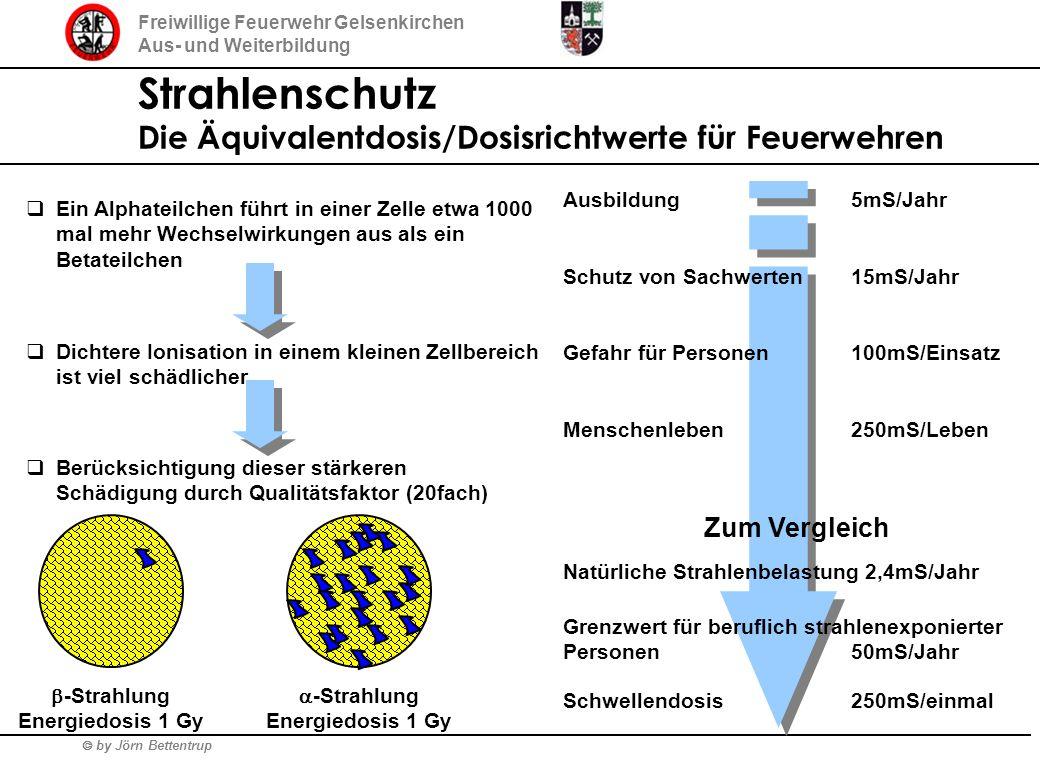 by Jörn Bettentrup Freiwillige Feuerwehr Gelsenkirchen Aus- und Weiterbildung Strahlenschutz Die Äquivalentdosis/Dosisrichtwerte für Feuerwehren Ein A