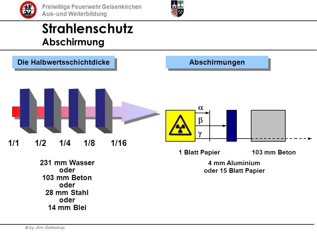 by Jörn Bettentrup Freiwillige Feuerwehr Gelsenkirchen Aus- und Weiterbildung Strahlenschutz Abschirmung Abschirmungen Die Halbwertsschichtdicke 1/11/