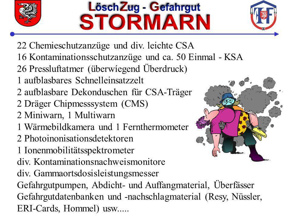 22 Chemieschutzanzüge und div. leichte CSA 16 Kontaminationsschutzanzüge und ca. 50 Einmal - KSA 26 Pressluftatmer (überwíegend Überdruck) 1 aufblasba